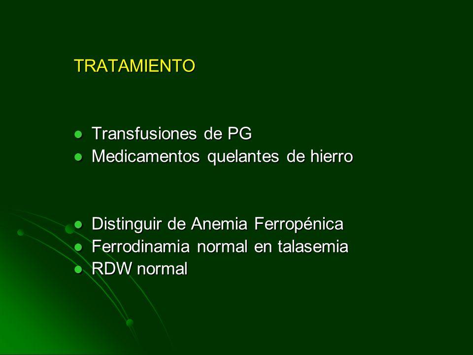 TRATAMIENTO Transfusiones de PG Transfusiones de PG Medicamentos quelantes de hierro Medicamentos quelantes de hierro Distinguir de Anemia Ferropénica