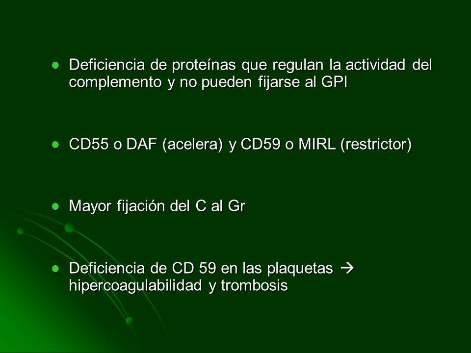 Deficiencia de proteínas que regulan la actividad del complemento y no pueden fijarse al GPI Deficiencia de proteínas que regulan la actividad del com