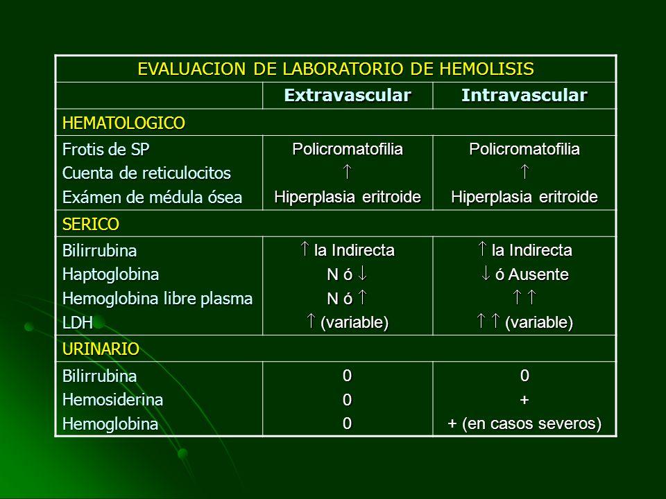 EVALUACION DE LABORATORIO DE HEMOLISIS ExtravascularIntravascular HEMATOLOGICO Frotis de SP Cuenta de reticulocitos Exámen de médula ósea Policromatof