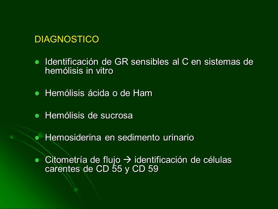 DIAGNOSTICO Identificación de GR sensibles al C en sistemas de hemólisis in vitro Identificación de GR sensibles al C en sistemas de hemólisis in vitr