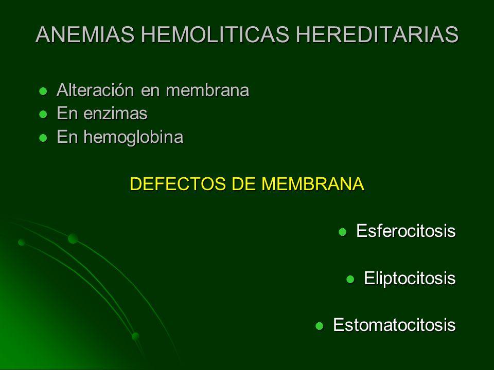 ANEMIAS HEMOLITICAS HEREDITARIAS Alteración en membrana Alteración en membrana En enzimas En enzimas En hemoglobina En hemoglobina DEFECTOS DE MEMBRAN