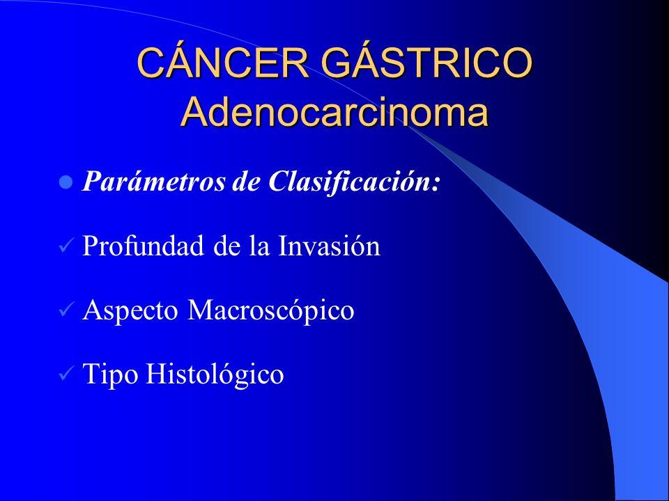 CÁNCER GÁSTRICO Adenocarcinoma Parámetros de Clasificación: Profundad de la Invasión Aspecto Macroscópico Tipo Histológico