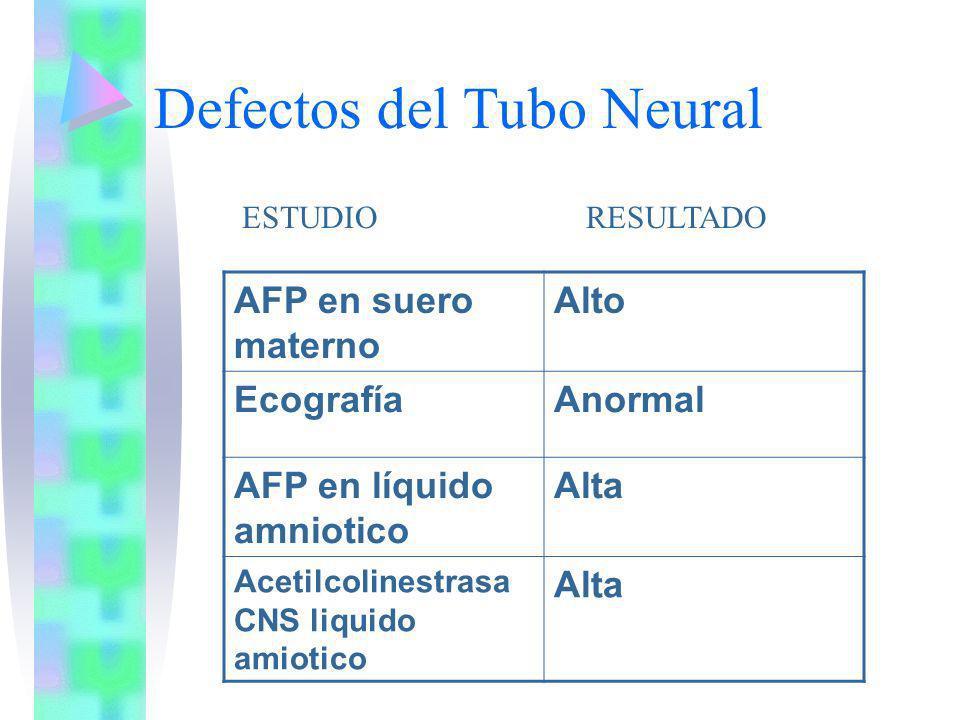Defectos del Tubo Neural AFP en suero materno Alto EcografíaAnormal AFP en líquido amniotico Alta Acetilcolinestrasa CNS liquido amiotico Alta ESTUDIO