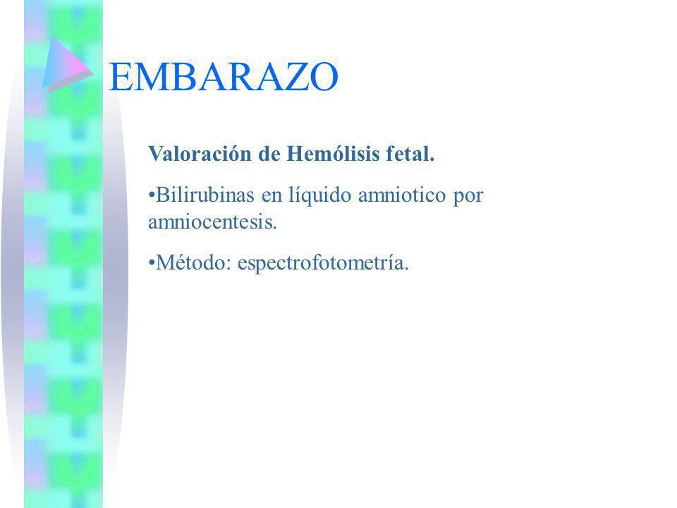 EMBARAZO Valoración de Hemólisis fetal. Bilirubinas en líquido amniotico por amniocentesis. Método: espectrofotometría.