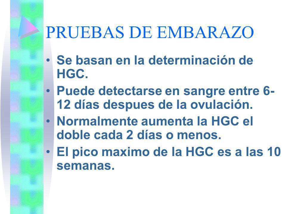 PRUEBAS DE EMBARAZO Se basan en la determinación de HGC. Puede detectarse en sangre entre 6- 12 días despues de la ovulación. Normalmente aumenta la H
