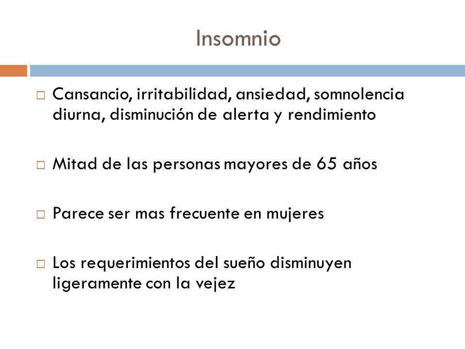 Insomnio Cansancio, irritabilidad, ansiedad, somnolencia diurna, disminución de alerta y rendimiento Mitad de las personas mayores de 65 años Parece s
