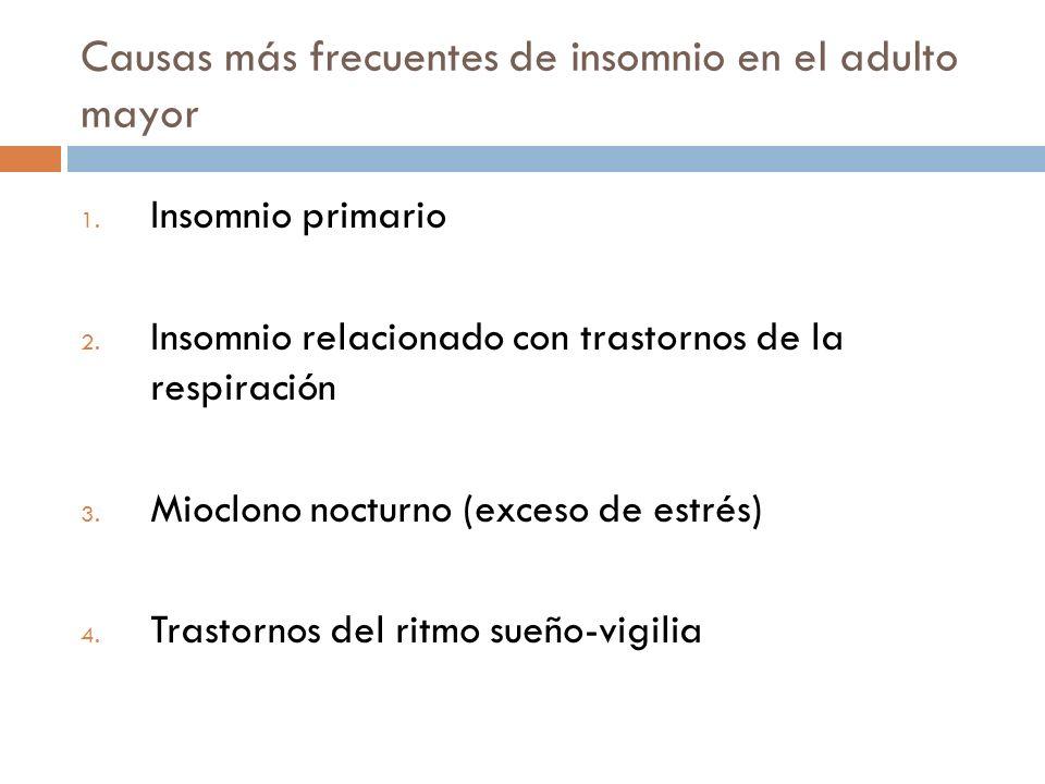 Causas más frecuentes de insomnio en el adulto mayor 1. Insomnio primario 2. Insomnio relacionado con trastornos de la respiración 3. Mioclono nocturn