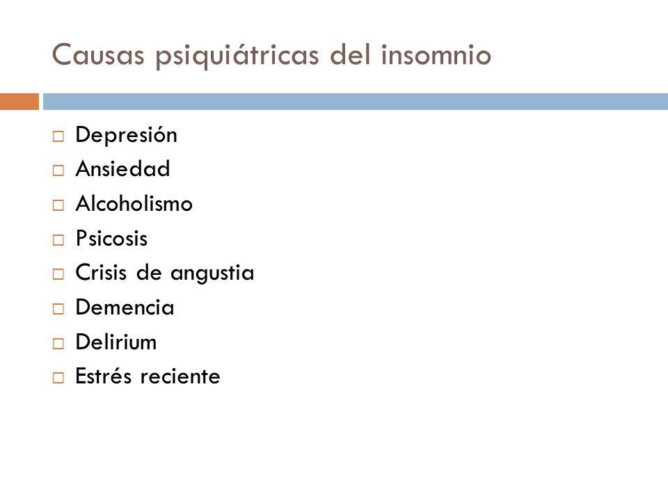 Causas psiquiátricas del insomnio Depresión Ansiedad Alcoholismo Psicosis Crisis de angustia Demencia Delirium Estrés reciente