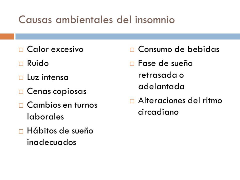 Causas ambientales del insomnio Calor excesivo Ruido Luz intensa Cenas copiosas Cambios en turnos laborales Hábitos de sueño inadecuados Consumo de be