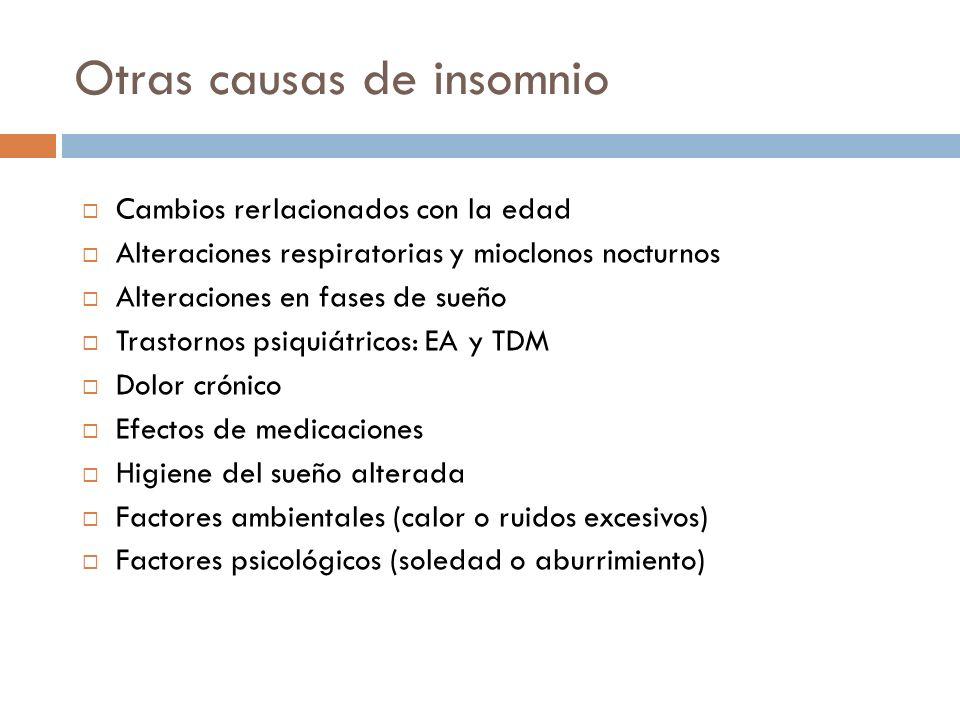 Otras causas de insomnio Cambios rerlacionados con la edad Alteraciones respiratorias y mioclonos nocturnos Alteraciones en fases de sueño Trastornos