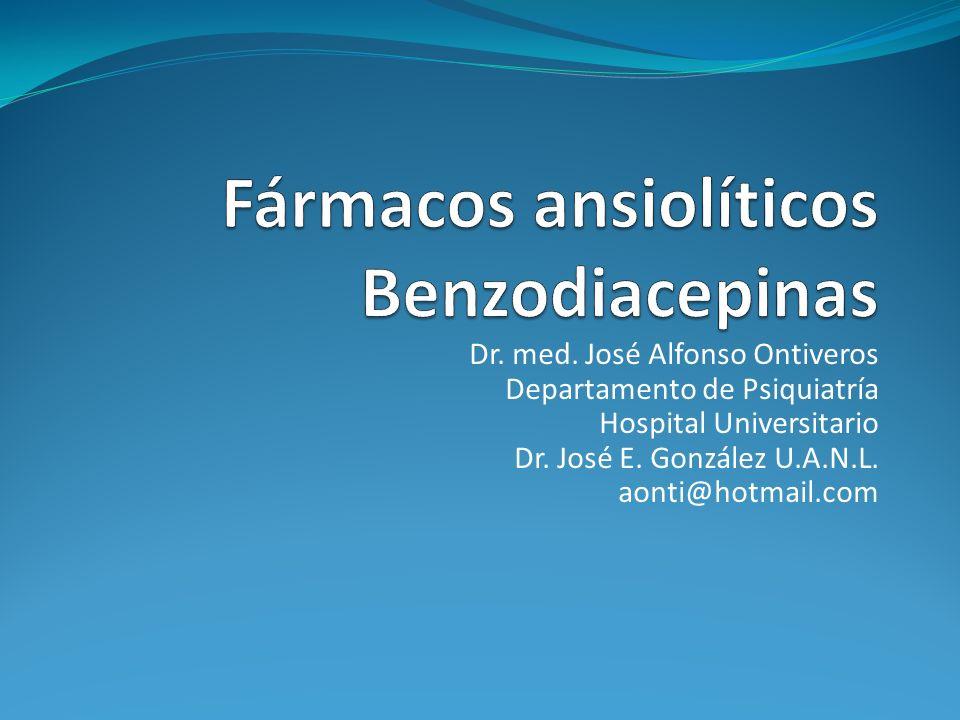 Prescripción de Benzodiacepinas Ejemplos TriazolamDosis (mg) (Halcion)0.125-0.25 Propiedades Vida media ultracorta (3 hrs) Potencia terapéutica alta Sin metabolitos activos Empleo Hipnótico Efectos adversos Amnesia Insomnio medial de rebote