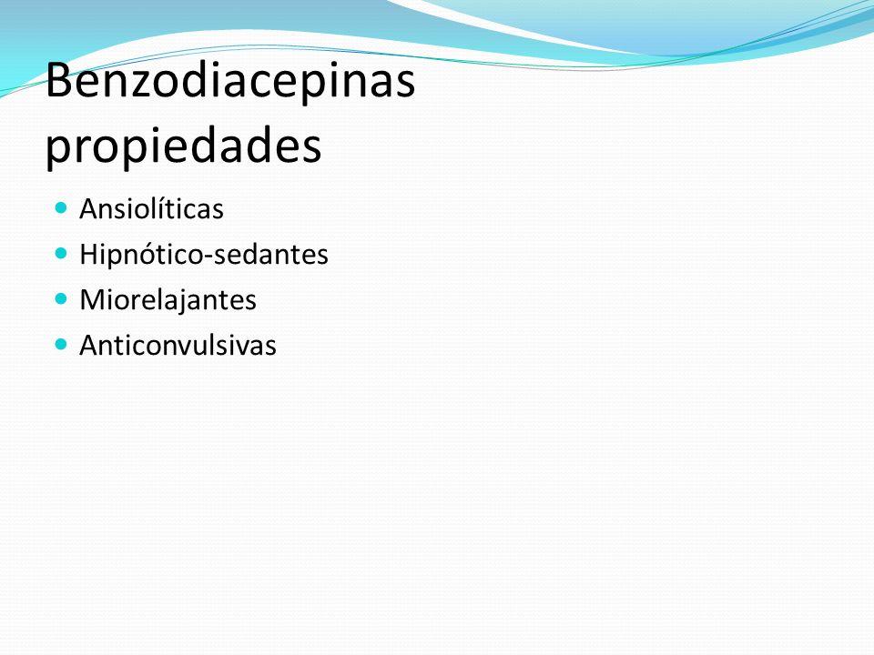 Benzodiacepinas propiedades Ansiolíticas Hipnótico-sedantes Miorelajantes Anticonvulsivas