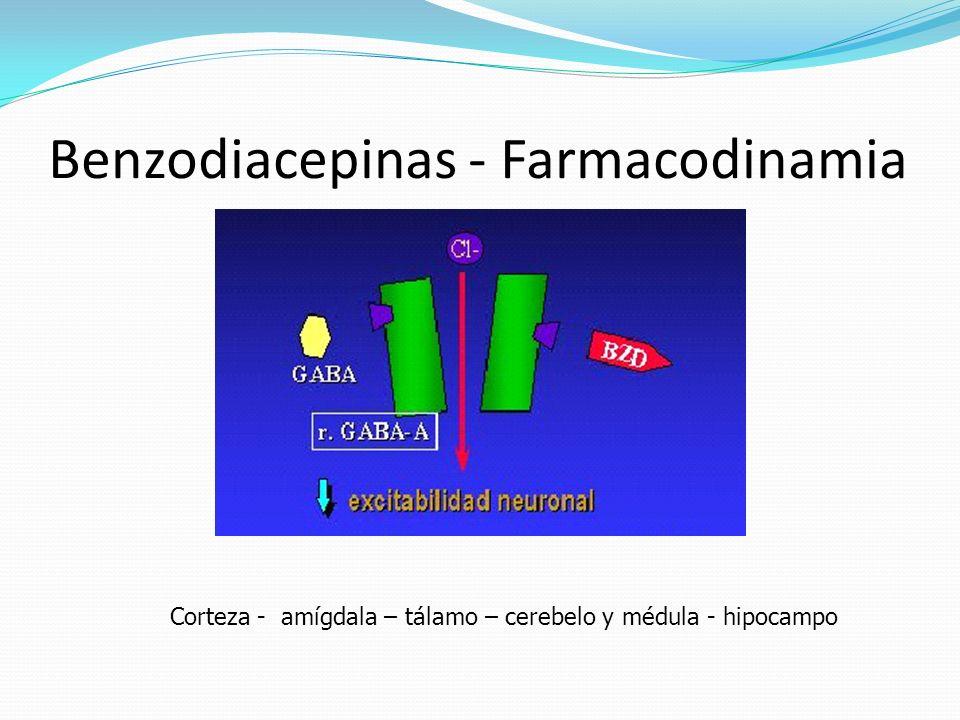 Benzodiacepinas - Farmacodinamia Corteza - amígdala – tálamo – cerebelo y médula - hipocampo