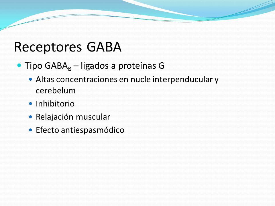 Receptores GABA Tipo GABA B – ligados a proteínas G Altas concentraciones en nucle interpenducular y cerebelum Inhibitorio Relajación muscular Efecto
