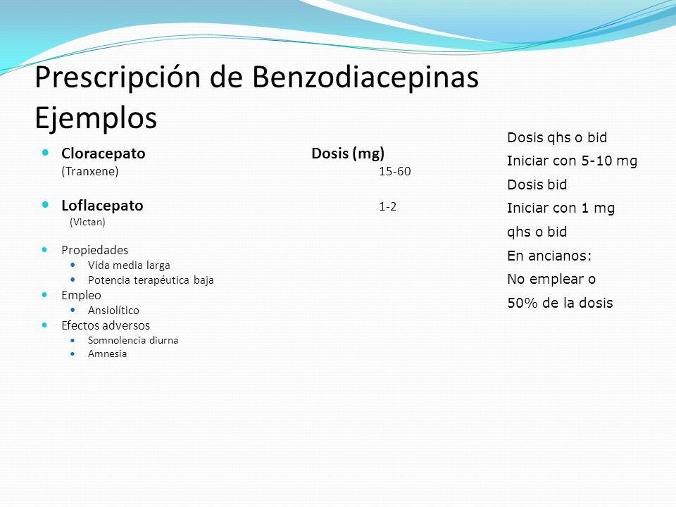 Prescripción de Benzodiacepinas Ejemplos CloracepatoDosis (mg) (Tranxene)15-60 Loflacepato 1-2 (Victan) Propiedades Vida media larga Potencia terapéut