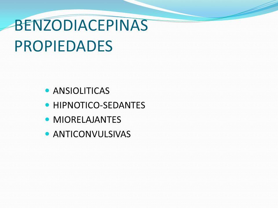 BENZODIACEPINAS PROPIEDADES ANSIOLITICAS HIPNOTICO-SEDANTES MIORELAJANTES ANTICONVULSIVAS