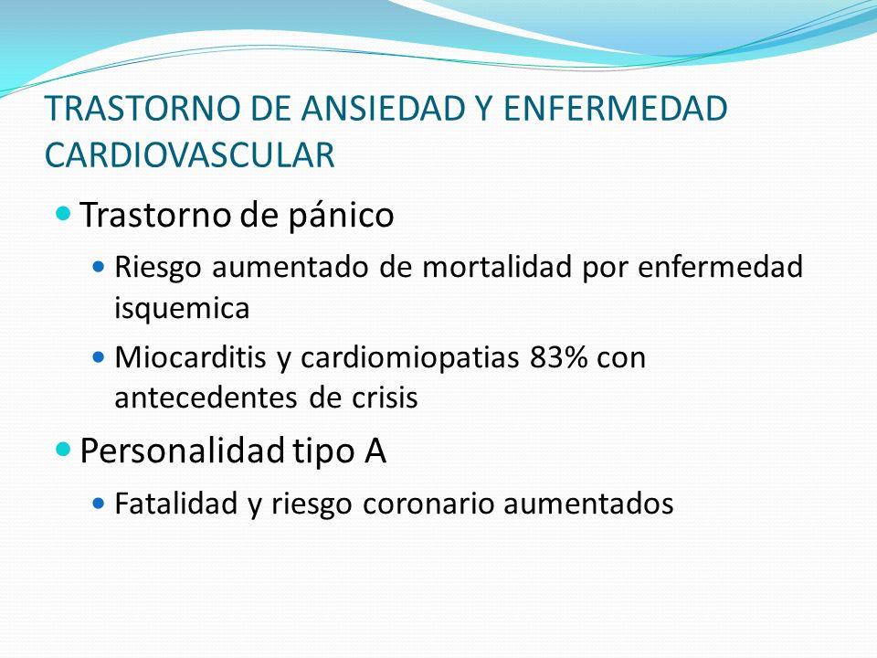 TRASTORNO DE ANSIEDAD Y ENFERMEDAD CARDIOVASCULAR Trastorno de pánico Riesgo aumentado de mortalidad por enfermedad isquemica Miocarditis y cardiomiop