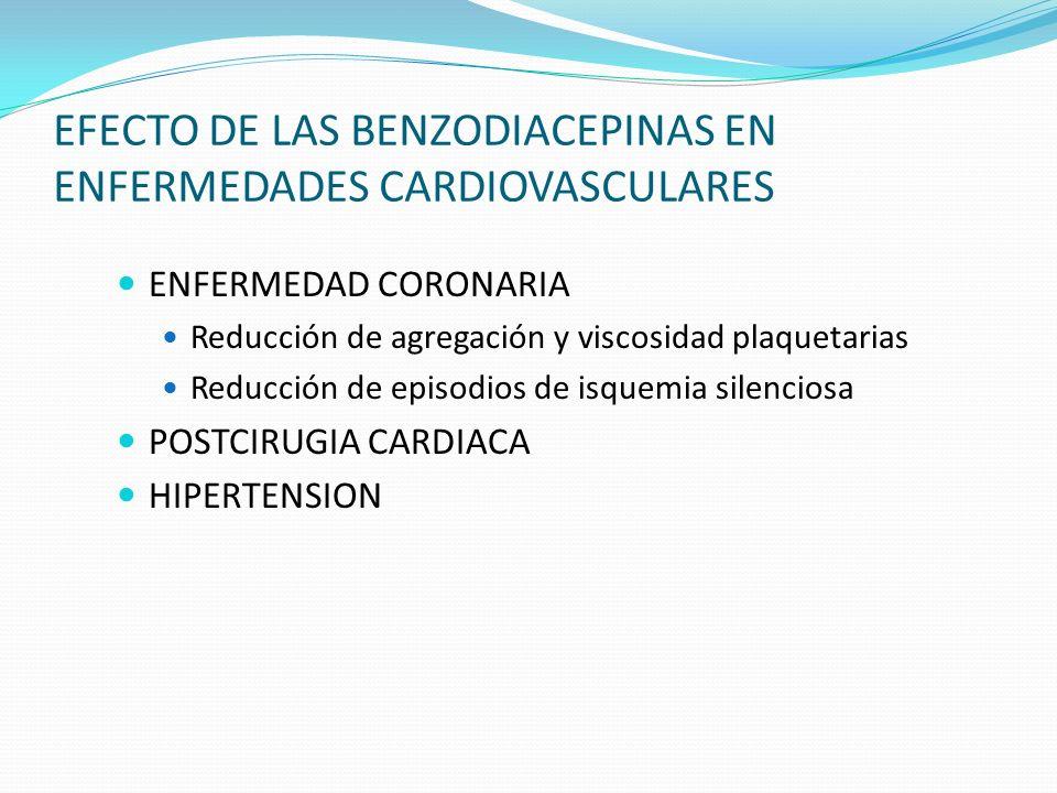 EFECTO DE LAS BENZODIACEPINAS EN ENFERMEDADES CARDIOVASCULARES ENFERMEDAD CORONARIA Reducción de agregación y viscosidad plaquetarias Reducción de epi