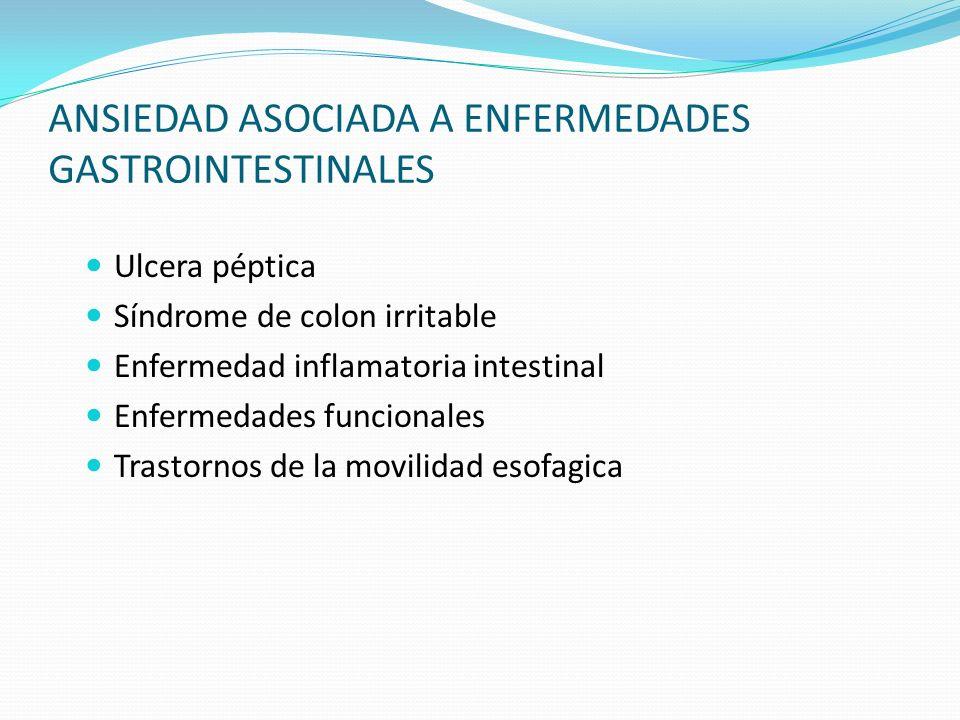 ANSIEDAD ASOCIADA A ENFERMEDADES GASTROINTESTINALES Ulcera péptica Síndrome de colon irritable Enfermedad inflamatoria intestinal Enfermedades funcion