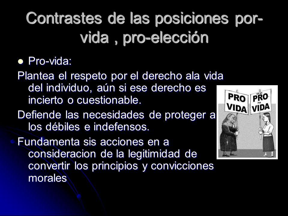 Contrastes de las posiciones por- vida, pro-elección Pro-vida: Pro-vida: Plantea el respeto por el derecho ala vida del individuo, aún si ese derecho