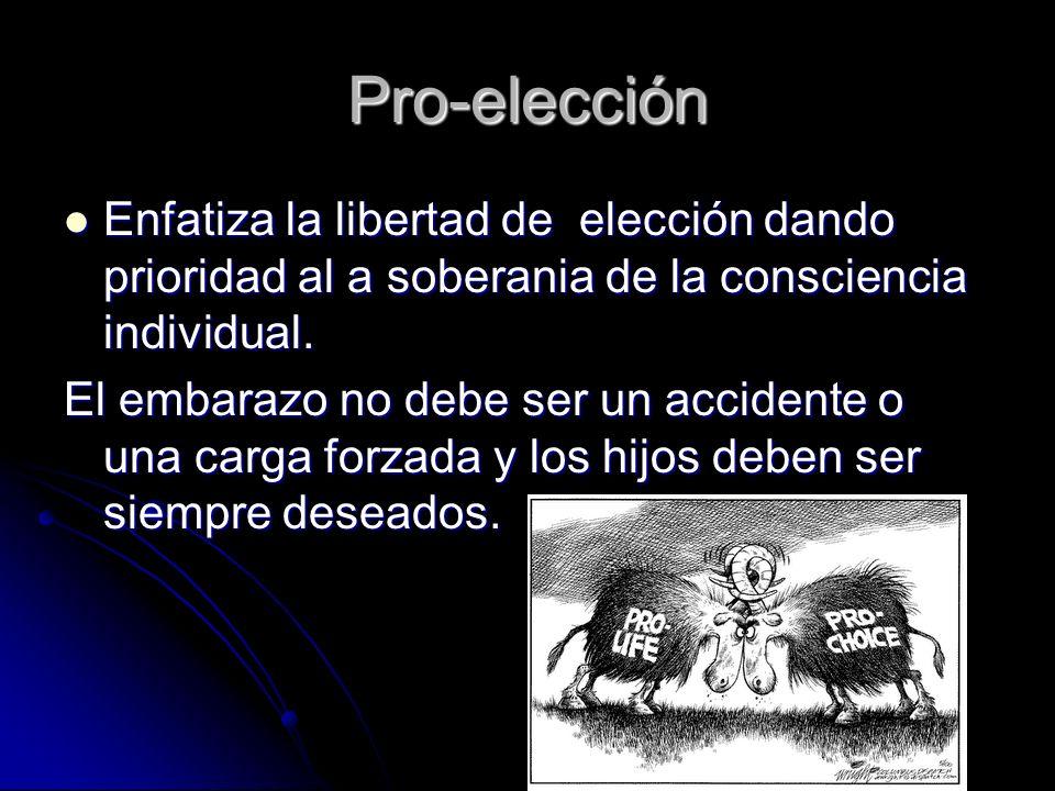 Pro-elección Enfatiza la libertad de elección dando prioridad al a soberania de la consciencia individual. Enfatiza la libertad de elección dando prio