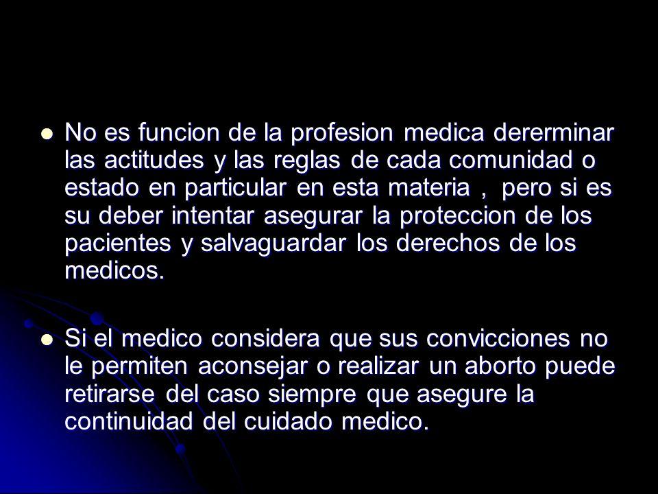 No es funcion de la profesion medica dererminar las actitudes y las reglas de cada comunidad o estado en particular en esta materia, pero si es su deb