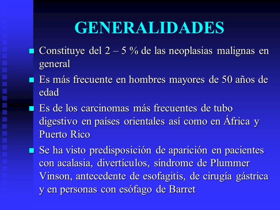 GENERALIDADES Constituye del 2 – 5 % de las neoplasias malignas en general Constituye del 2 – 5 % de las neoplasias malignas en general Es más frecuen