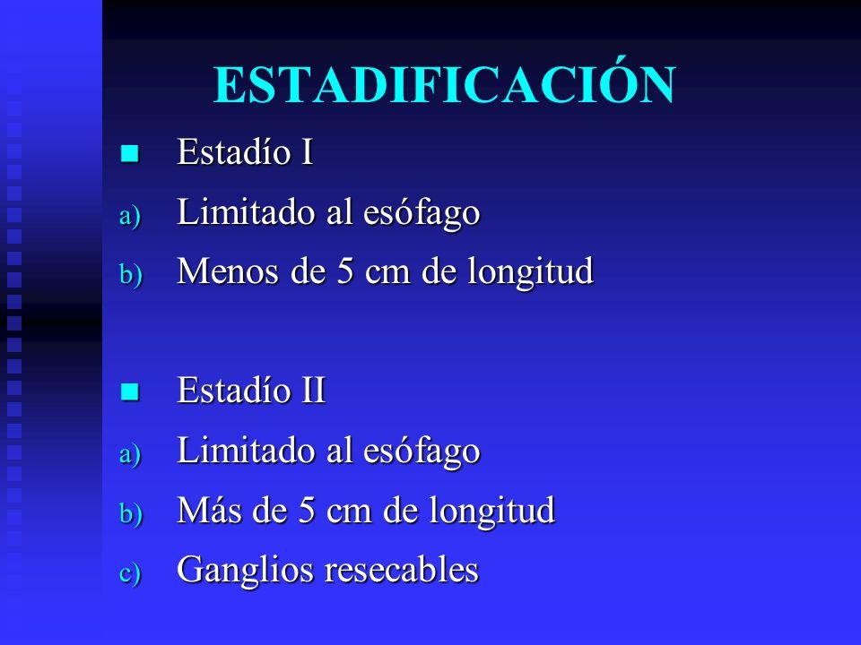 ESTADIFICACIÓN Estadío I Estadío I a) Limitado al esófago b) Menos de 5 cm de longitud Estadío II Estadío II a) Limitado al esófago b) Más de 5 cm de