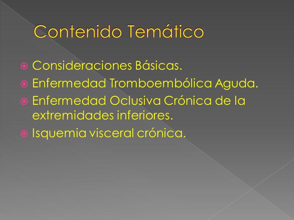 Consideraciones Básicas.Enfermedad Tromboembólica Aguda.