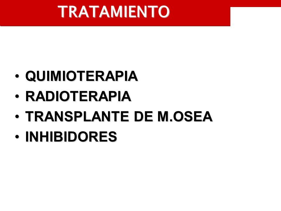 TRATAMIENTO QUIMIOTERAPIAQUIMIOTERAPIA RADIOTERAPIARADIOTERAPIA TRANSPLANTE DE M.OSEATRANSPLANTE DE M.OSEA INHIBIDORESINHIBIDORES