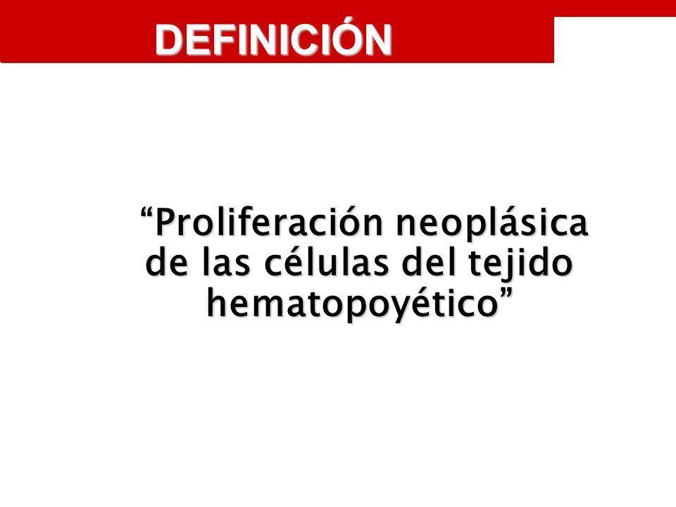 DEFINICIÓN Proliferación neoplásica de las células del tejido hematopoyético Proliferación neoplásica de las células del tejido hematopoyético