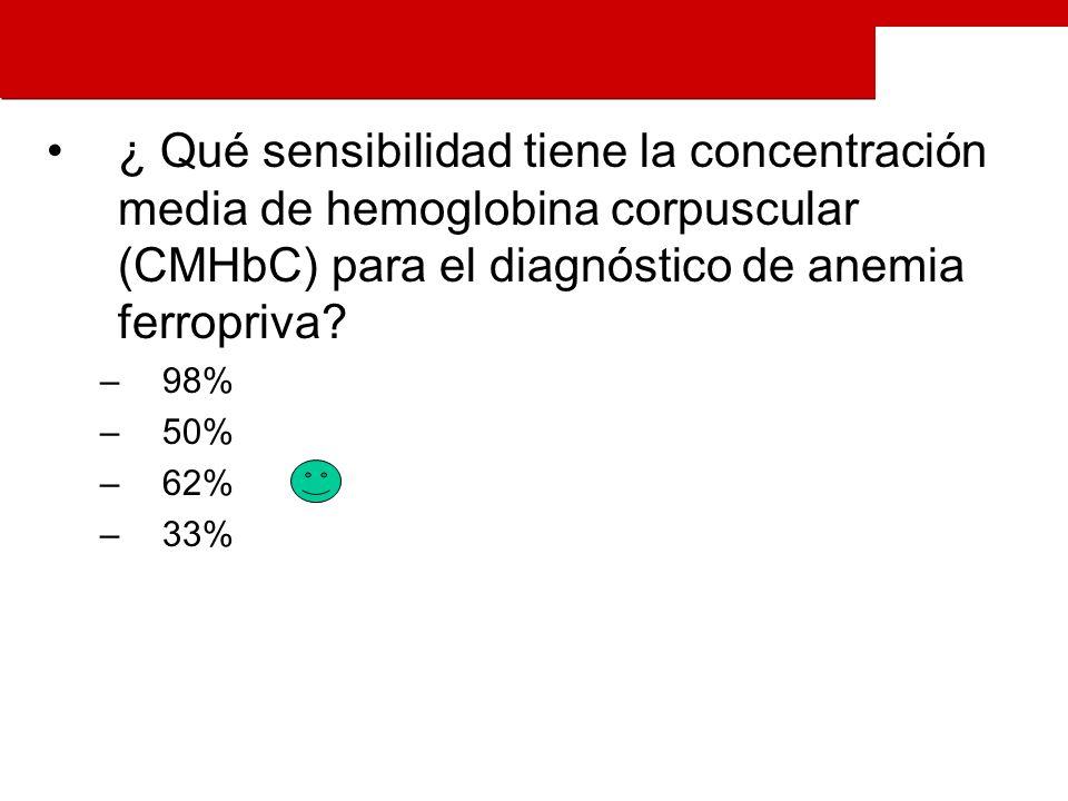 ¿ Qué sensibilidad tiene la concentración media de hemoglobina corpuscular (CMHbC) para el diagnóstico de anemia ferropriva.