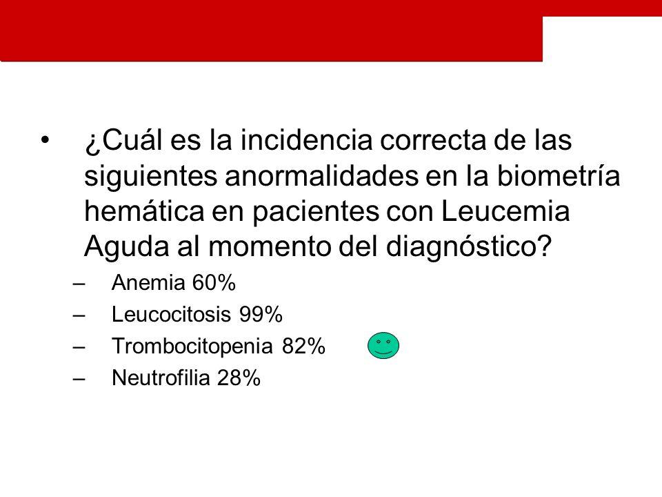 ¿Cuál es la incidencia correcta de las siguientes anormalidades en la biometría hemática en pacientes con Leucemia Aguda al momento del diagnóstico.