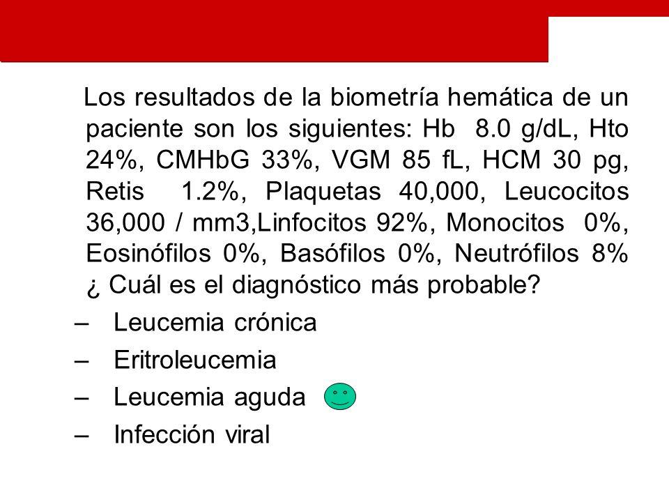Los resultados de la biometría hemática de un paciente son los siguientes: Hb 8.0 g/dL, Hto 24%, CMHbG 33%, VGM 85 fL, HCM 30 pg, Retis 1.2%, Plaquetas 40,000, Leucocitos 36,000 / mm3,Linfocitos 92%, Monocitos 0%, Eosinófilos 0%, Basófilos 0%, Neutrófilos 8% ¿ Cuál es el diagnóstico más probable.