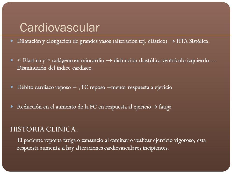 Cardiovascular Dilatación y elongación de grandes vasos (alteración tej. elástico) HTA Sistólica. colágeno en miocardio disfunción diastólica ventrícu