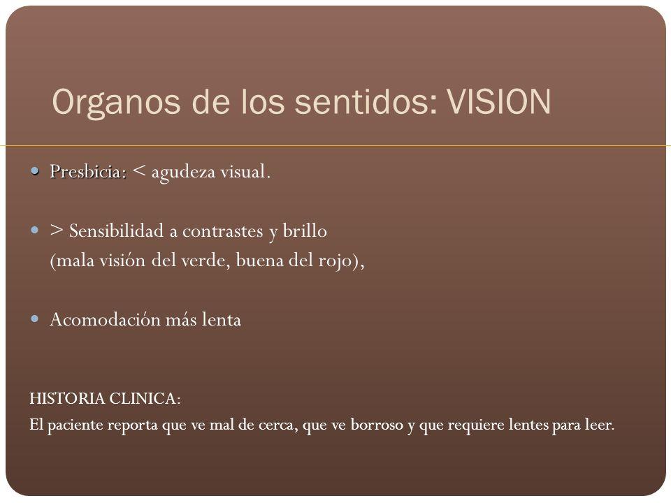 Organos de los sentidos: VISION Presbicia: Presbicia: < agudeza visual. > Sensibilidad a contrastes y brillo (mala visión del verde, buena del rojo),