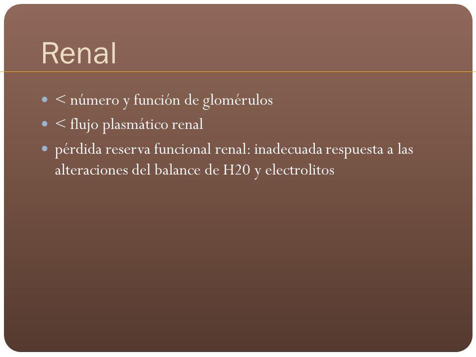 Renal < número y función de glomérulos < flujo plasmático renal pérdida reserva funcional renal: inadecuada respuesta a las alteraciones del balance d