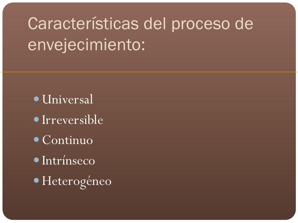 Características del proceso de envejecimiento: Universal Irreversible Continuo Intrínseco Heterogéneo