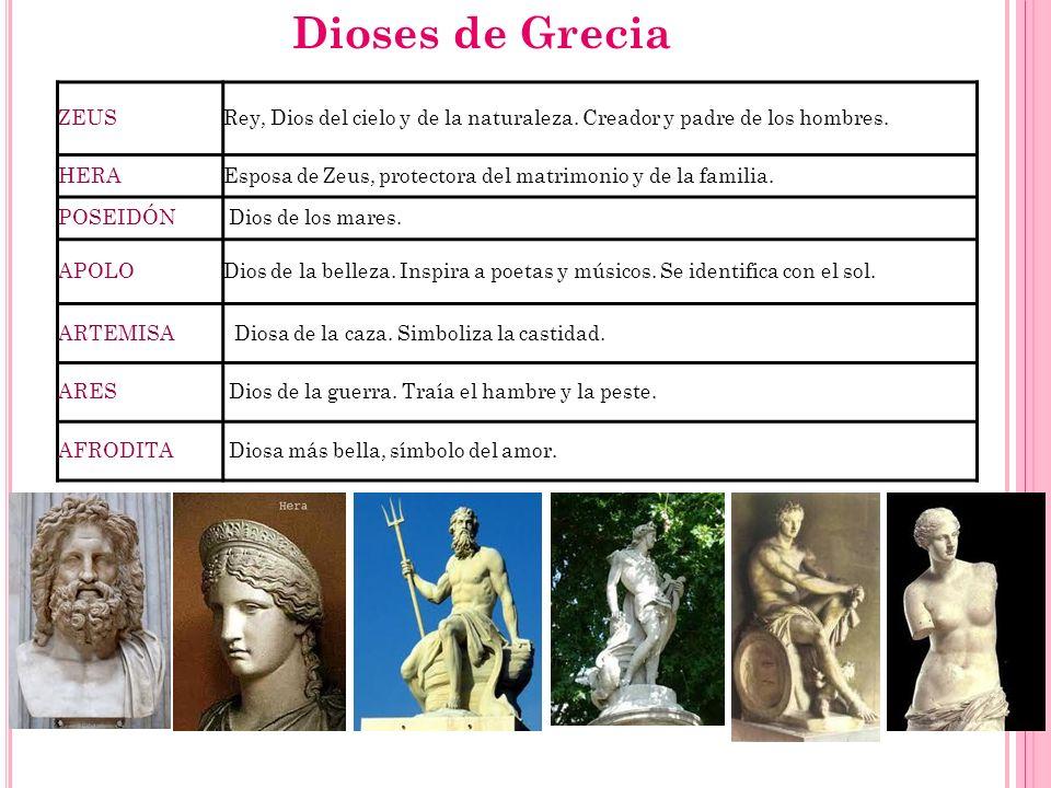 ZEUSRey, Dios del cielo y de la naturaleza. Creador y padre de los hombres. HERAEsposa de Zeus, protectora del matrimonio y de la familia. POSEIDÓN Di
