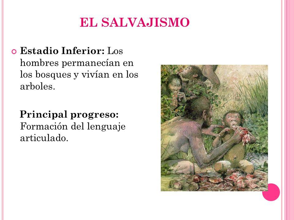 EL SALVAJISMO Estadio Inferior: Los hombres permanecían en los bosques y vivían en los arboles. Principal progreso: Formación del lenguaje articulado.