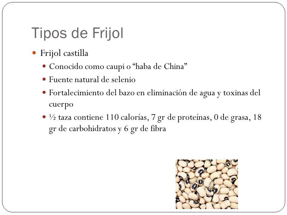 Tipos de Frijol Frijol castilla Conocido como caupi o haba de China Fuente natural de selenio Fortalecimiento del bazo en eliminación de agua y toxina