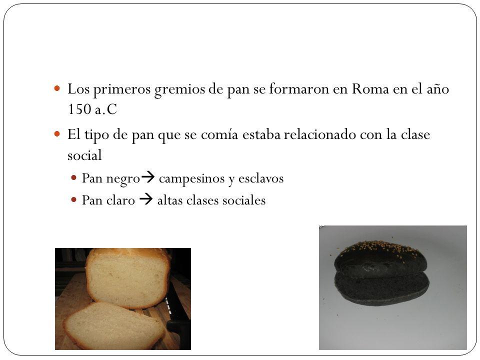 Los primeros gremios de pan se formaron en Roma en el año 150 a.C El tipo de pan que se comía estaba relacionado con la clase social Pan negro campesi