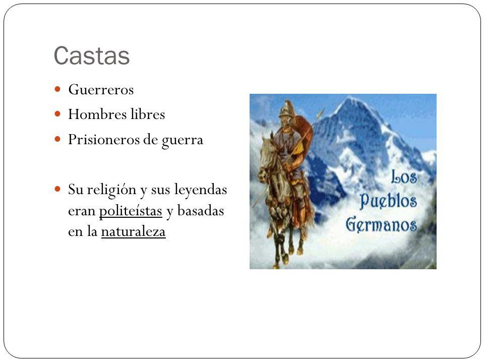Castas Guerreros Hombres libres Prisioneros de guerra Su religión y sus leyendas eran politeístas y basadas en la naturaleza