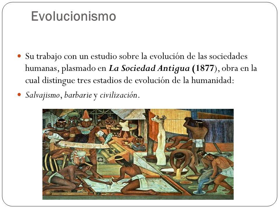 Evolucionismo Su trabajo con un estudio sobre la evolución de las sociedades humanas, plasmado en La Sociedad Antigua (1877), obra en la cual distingu