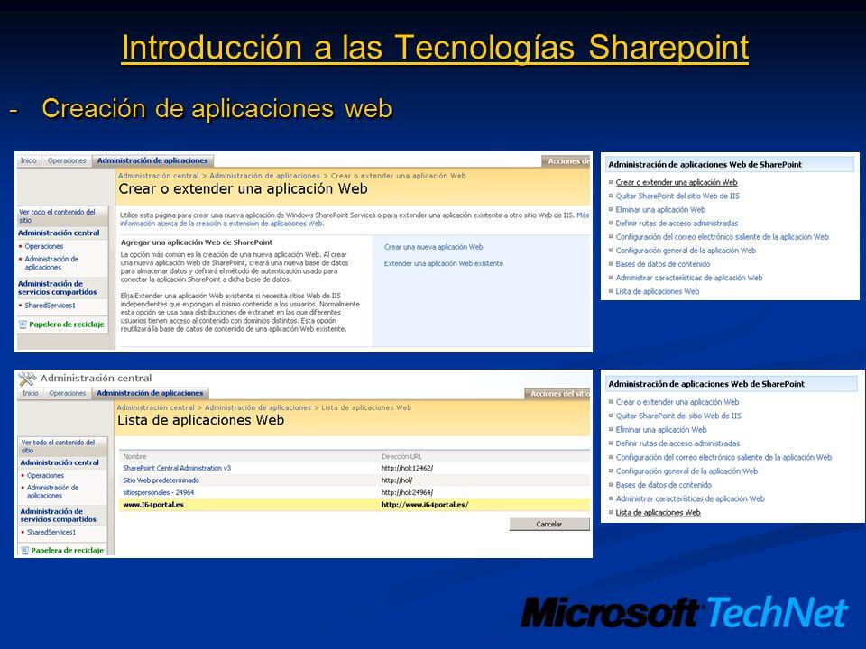 Introducción a las Tecnologías Sharepoint -Implementación de colecciones de sitios Colección de sitios: Conjunto de sitios donde existe un sitio raíz de nivel superior (top level) que se utiliza para administrar opciones para todo la colección de sitios de forma centralizada La implementación de una colección de sitios implica: -Aplicar sobre una aplicación web específica, una plantilla de definición de sitio -Saber que Sharepoint aplica una plantilla de definición de sitio mediante un lenguaje de marcado denominado CAML (Colaborative Application Markup Language) -Saber que para aplicar la plantilla de definición específica que le indiquemos, Sharepoint utiliza un fichero denominado ONET.XML.
