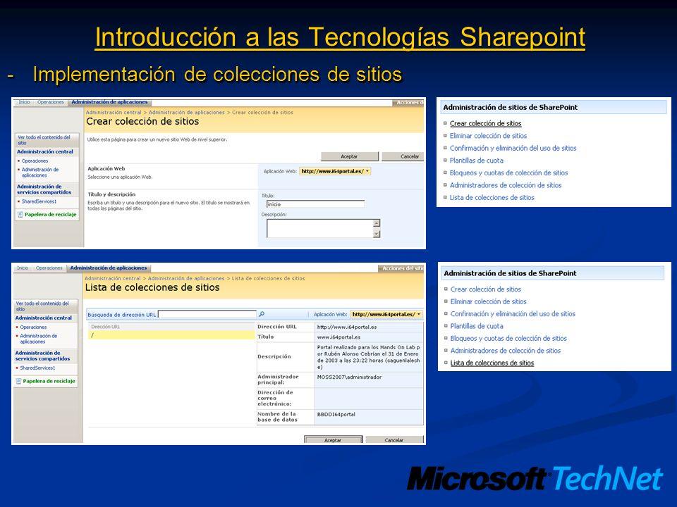 Introducción a las Tecnologías Sharepoint -Implementación de colecciones de sitios