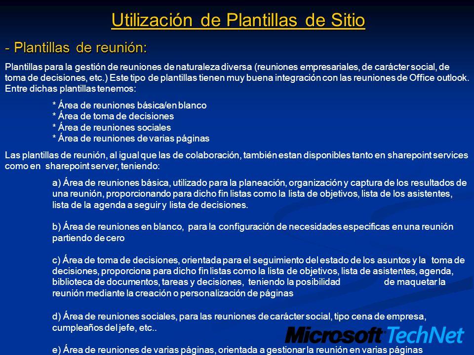 Utilización de Plantillas de Sitio - Plantillas de reunión: Plantillas para la gestión de reuniones de naturaleza diversa (reuniones empresariales, de