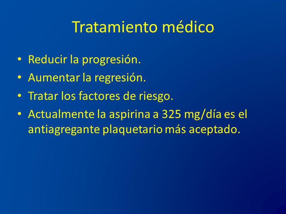 Tratamiento médico Reducir la progresión. Aumentar la regresión. Tratar los factores de riesgo. Actualmente la aspirina a 325 mg/día es el antiagregan