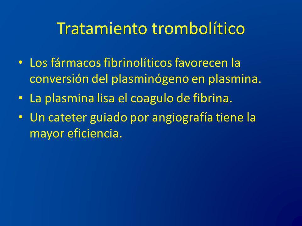 Tratamiento trombolítico Los fármacos fibrinolíticos favorecen la conversión del plasminógeno en plasmina. La plasmina lisa el coagulo de fibrina. Un