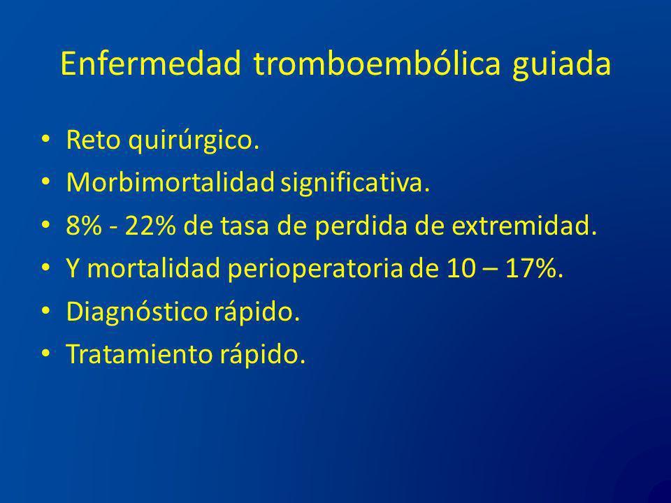 Enfermedad tromboembólica guiada Reto quirúrgico. Morbimortalidad significativa. 8% - 22% de tasa de perdida de extremidad. Y mortalidad perioperatori
